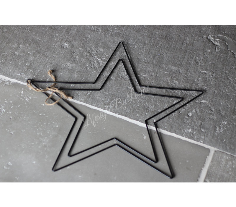 Metalen zwarte ster  50 cm
