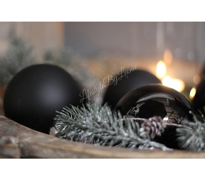 Kerstbal Shiny black 8 cm