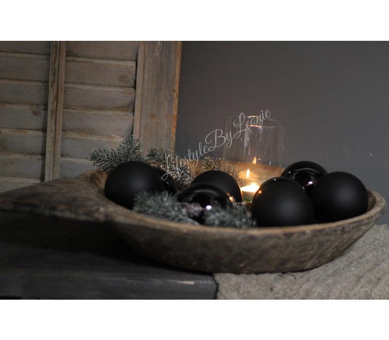 Kerstbal Mat black 8 cm