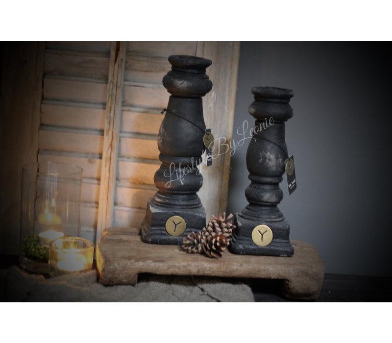 Brynxz zwarte stenen dinerkaars baluster 27 cm