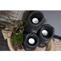 Brynxz set van 3 waxinelichthouders Black 21 cm