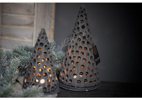 Brynxz Brynxz set van 2 kerstboom waxinelichthouders Old brown 25 cm