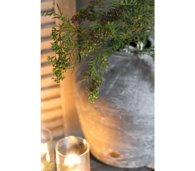 Zijden pepperbes tak Green 76 cm