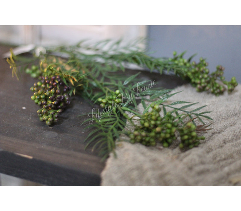 Zijden Pepperberry tak green 76 cm
