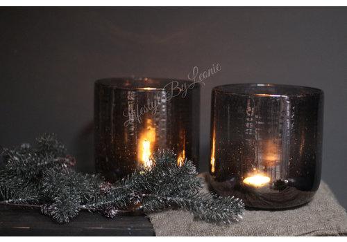 Windlicht edge round bubbels Grey 16,5 cm