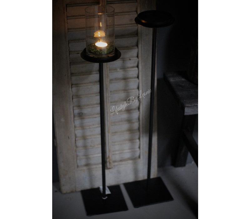 Zwarte vloerkandelaar stompkaars 60 cm