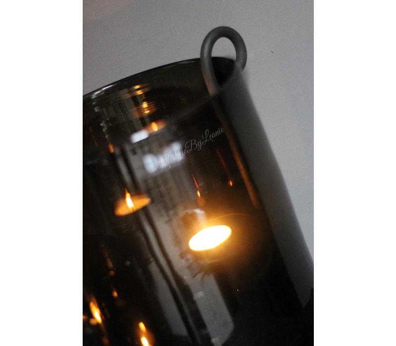 Zwarte S hangkandelaar stompkaars 22 cm