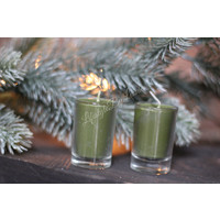 Set kaarsjes in glas Christmas green