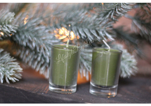 Set kaarsjes in glas Christmas green