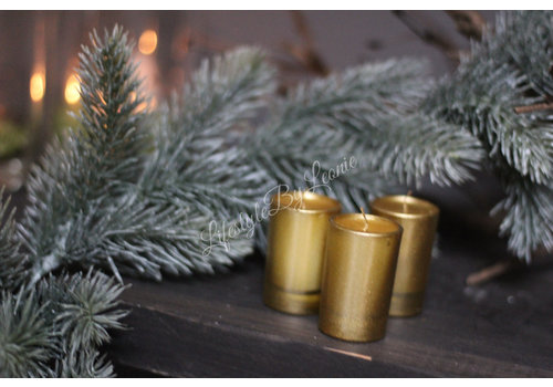 Set kaarsjes in glas Gold