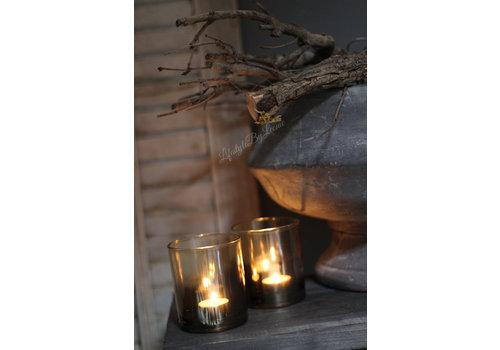Glazen windlicht cognac 10 cm