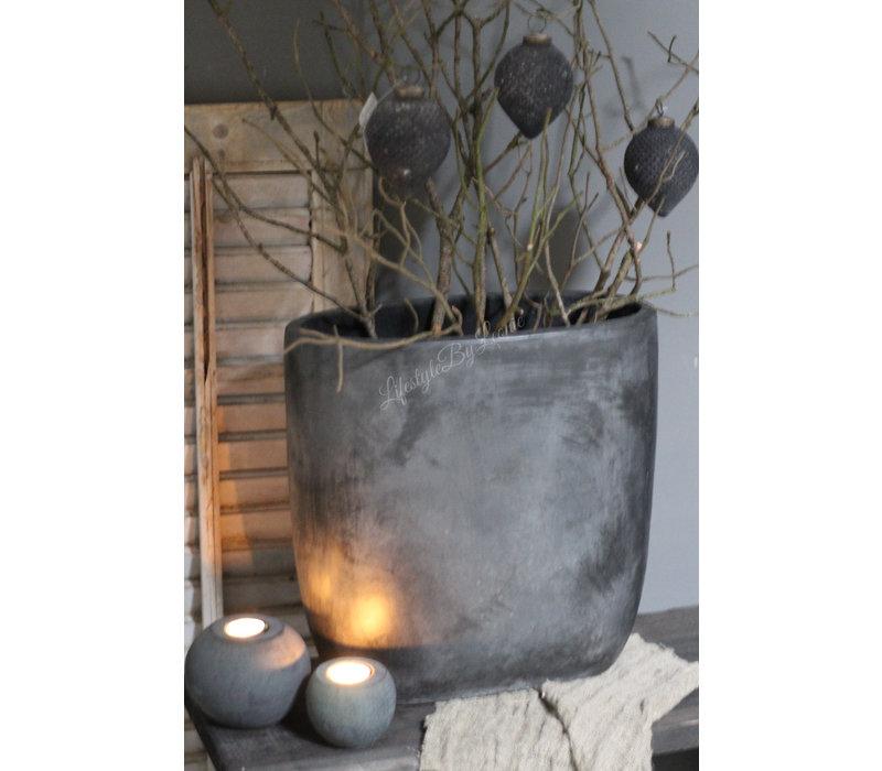 Hoge smalle pot El paso zwart/grijs 38 cm