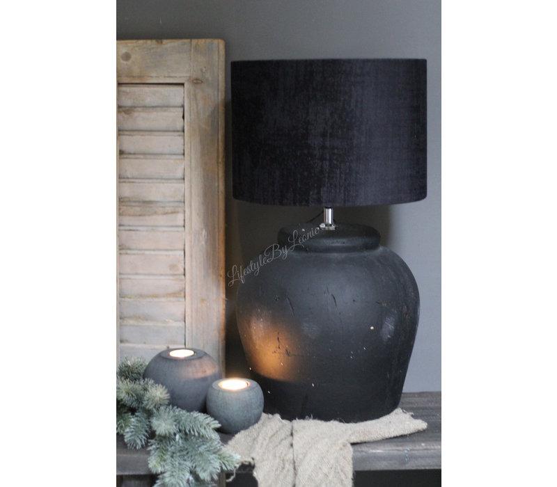 Velvet cilinder lampenkap Zwart 25 cm