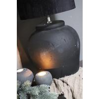 Zwarte ronde stenen bal waxinelichthouder 12 cm