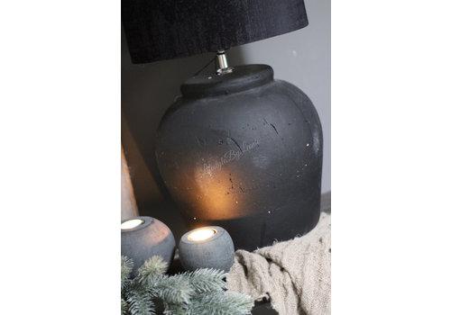 Zwarte ronde stenen bal waxinelichthouder 8 cm