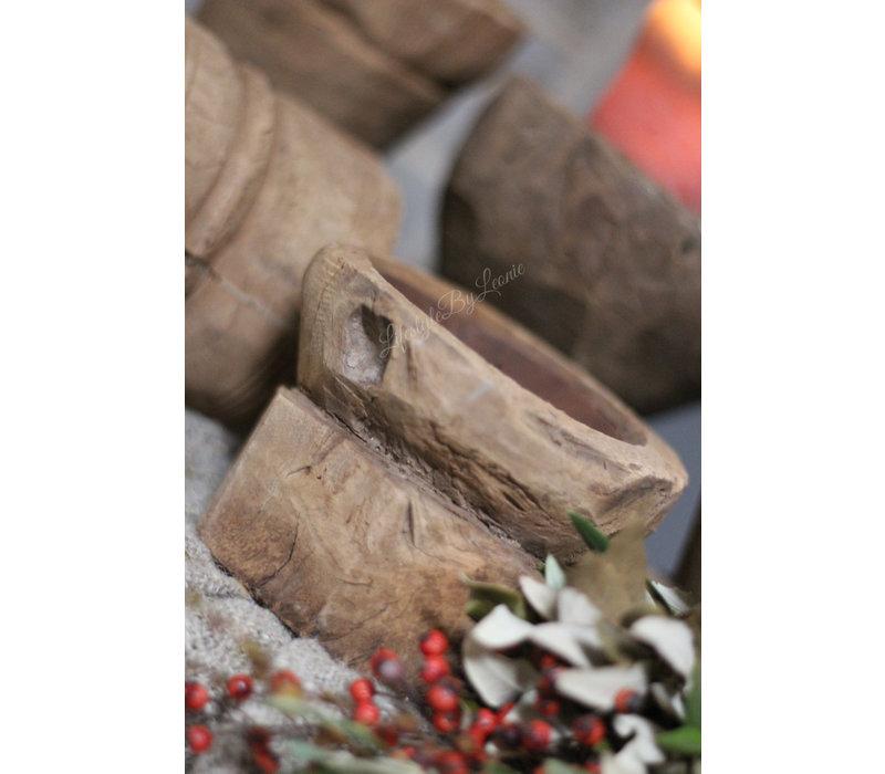 Oude houten baluster kaarsenstandaard
