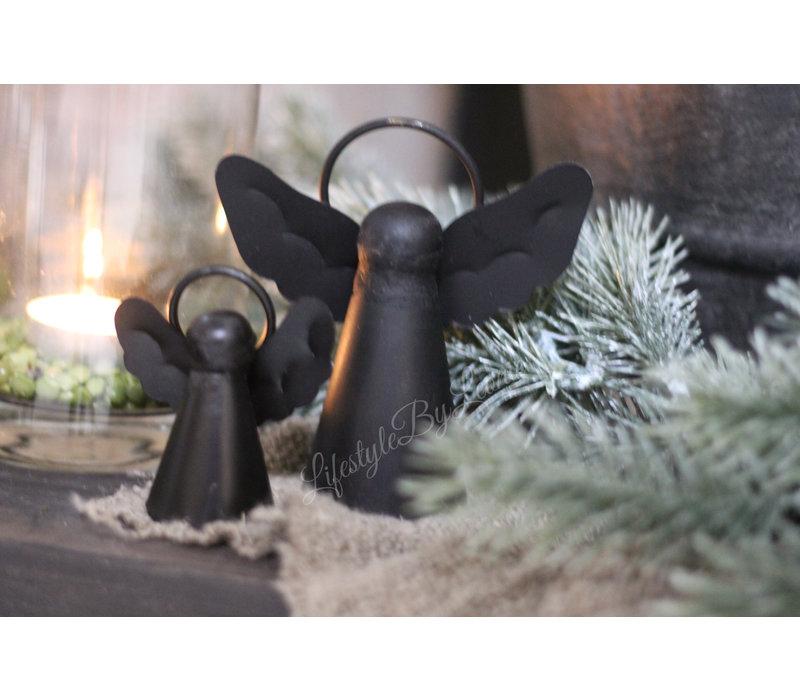 Zwarte metalen hanger engel 7 cm