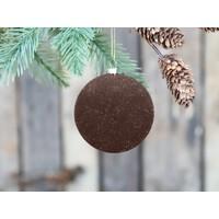 Kerstbal velours brown glitter 8cm