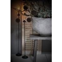 Zwarte vloerkandelaar dinerkaars 70 cm