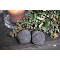 Sobere grijs glazen kerstbal bewerkt 6 cm