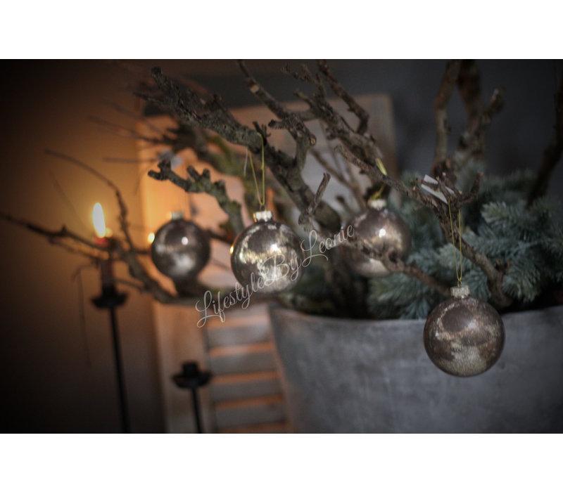 Glazen kerstbal mocca glitter 8cm