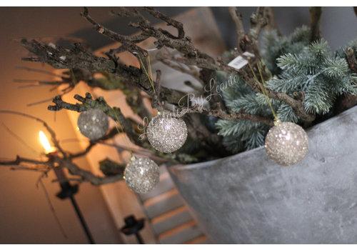 Glazen kerstbal Champagne glitter 6 cm