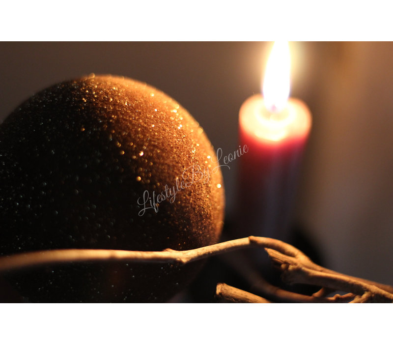 Kerstbal velours brown glitter 8 cm