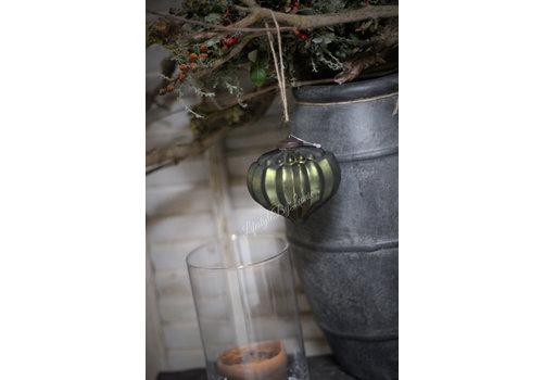 Glazen kerstbal Onion moss green 10 cm