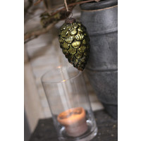 Glazen kerstbal Pinecone moss green 15 cm
