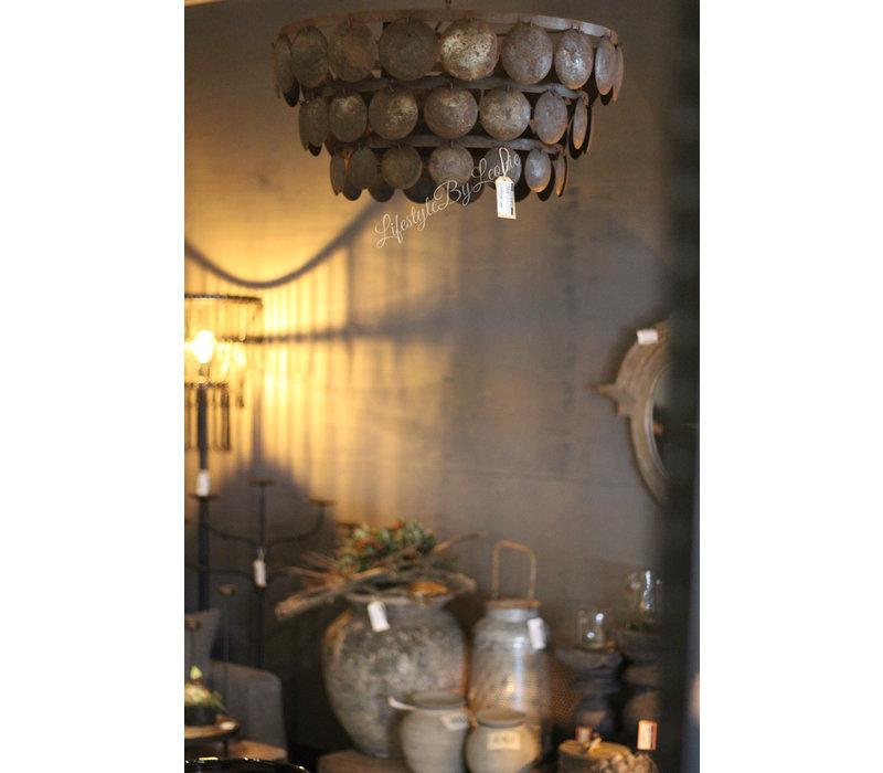 Metalen roestige schijfjes hanglamp 60 cm