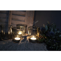 Waxinelichthouder bubbels grijs 10 cm