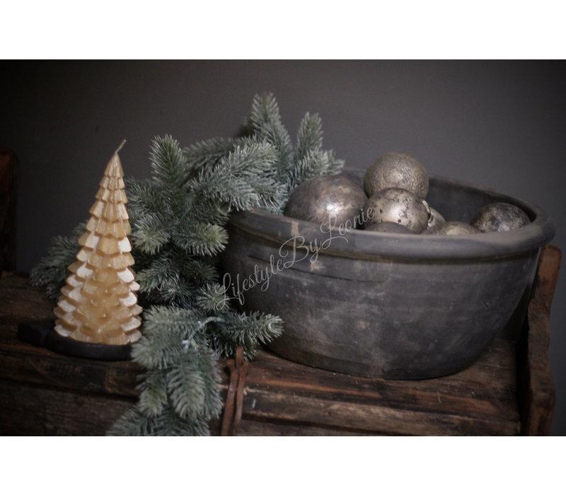 Sobere grijs/zilveren kerstbal 7 cm
