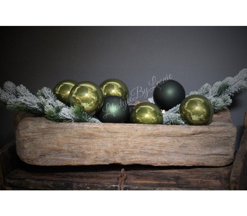 Glazen kerstbal Moss green mat 10 cm
