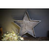 Houten ster tray Grey wash 40 cm