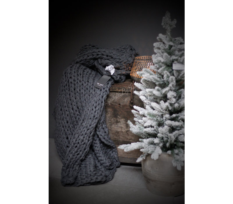 Brynxz plaid Knitted light grey 150 cm