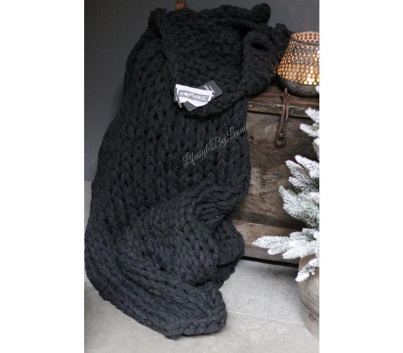 Brynxz plaid Knitted dark grey 150 cm