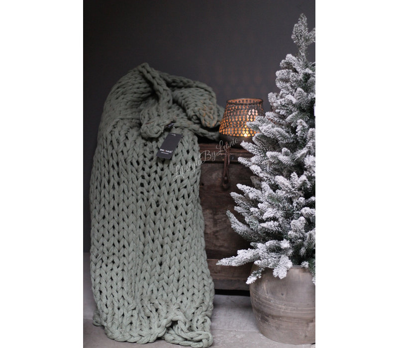 Brynxz plaid Knitted pastel green 150 cm