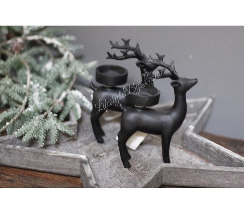 Waxinelichthouder Hertje zwart 9 cm