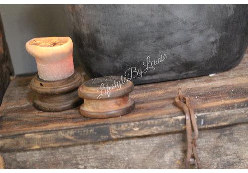 Vintage oude spoel kandelaar 13 cm