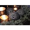 Glazen kerstbal Sober black silver 10 cm