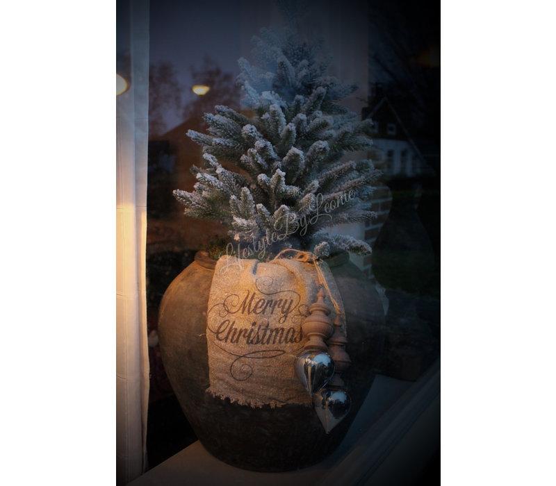 Shabby linnen doek Merry Christmas