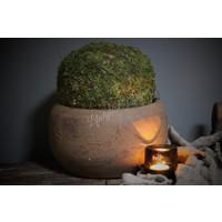 Ronde stenen bak / schaal Roest 26 cm