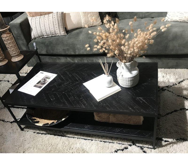 Koffietafel visgraat zwart 120 x 60 cm