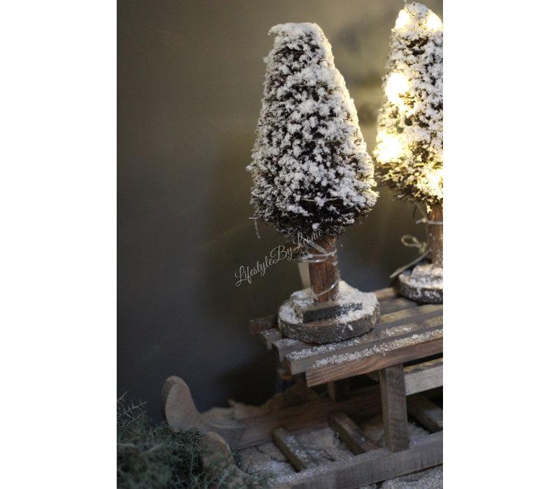Kerstboom Dry tree met LED lampjes 30 cm