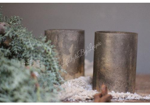 Glazen theelicht Lili sober brown / gold 10 cm