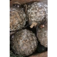 Glazen kerstbal Diamond brown / gold 10 cm