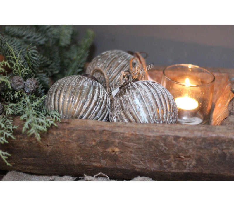 Glazen kerstbal Ribbed brown / gold 10 cm