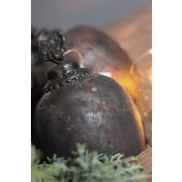 Glazen ovale kerstbal met hertenkop Soda black 18 cm