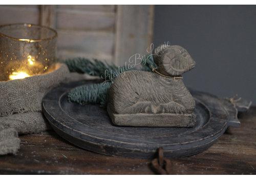 Houten Indiase schaal Old grey 33 cm