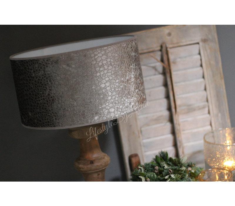 Velvet cilinder lampenkap Croco silver olive